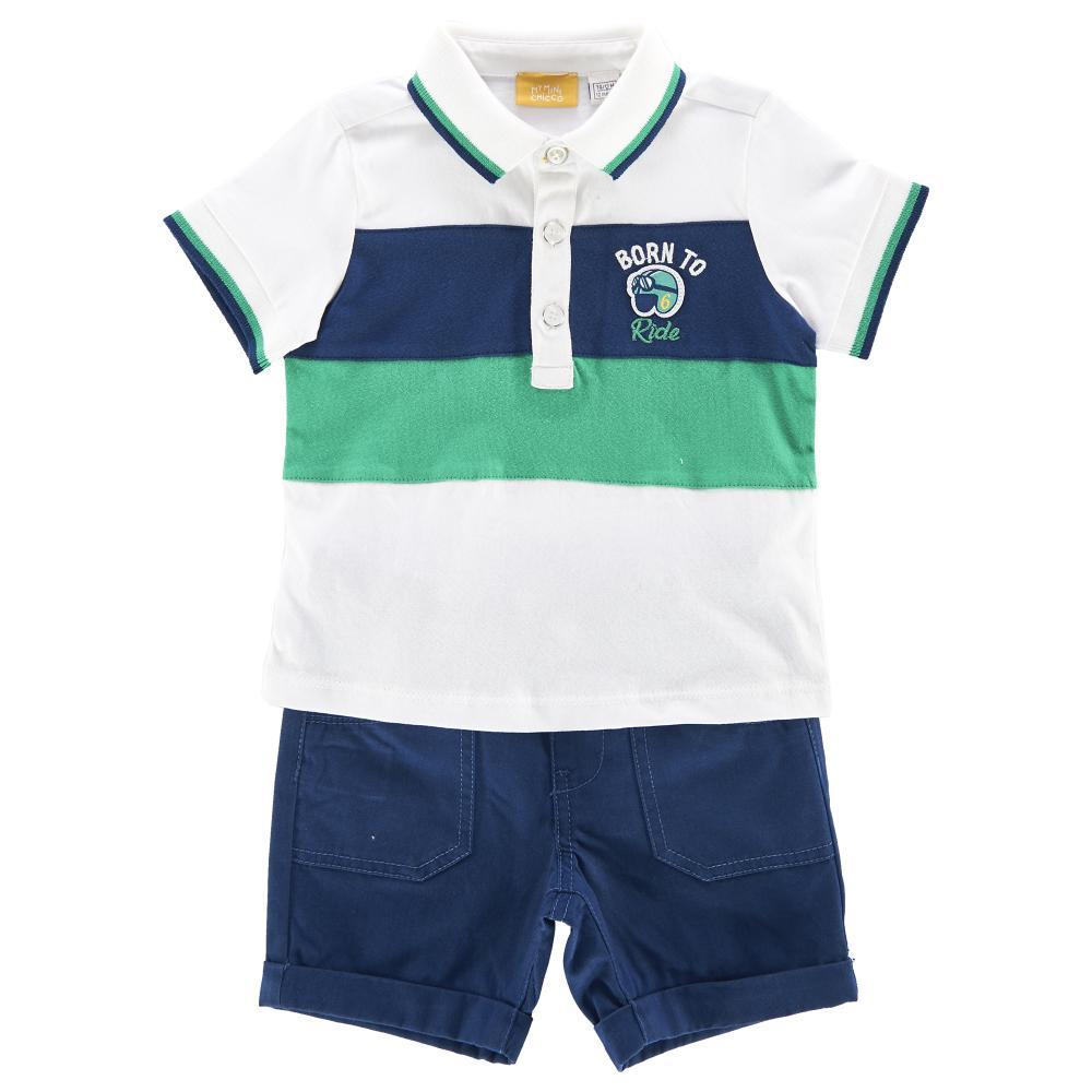 Costum tricou polo + pantalon scurt copii Chicco, baieti, alb cu albastru