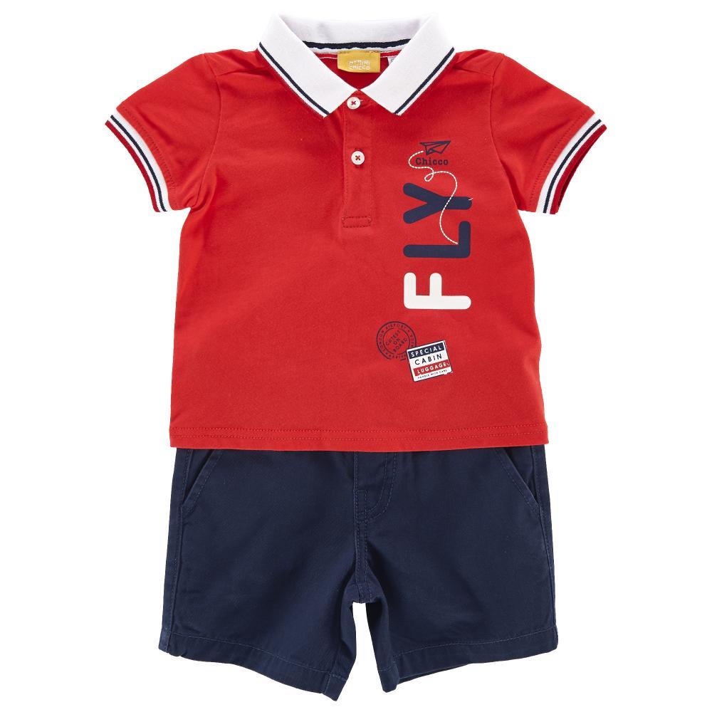 Costum tricou polo + pantalon scurt copii Chicco baieti rosu cu albastru 98