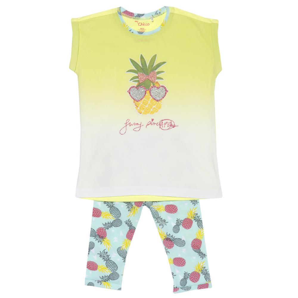 Costumas fetite Chicco, tricou si colanti, galben