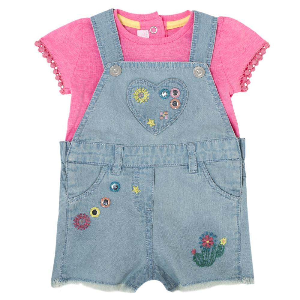 Costumas bebe Chicco, salopeta si tricou, fetite, denim, 75510