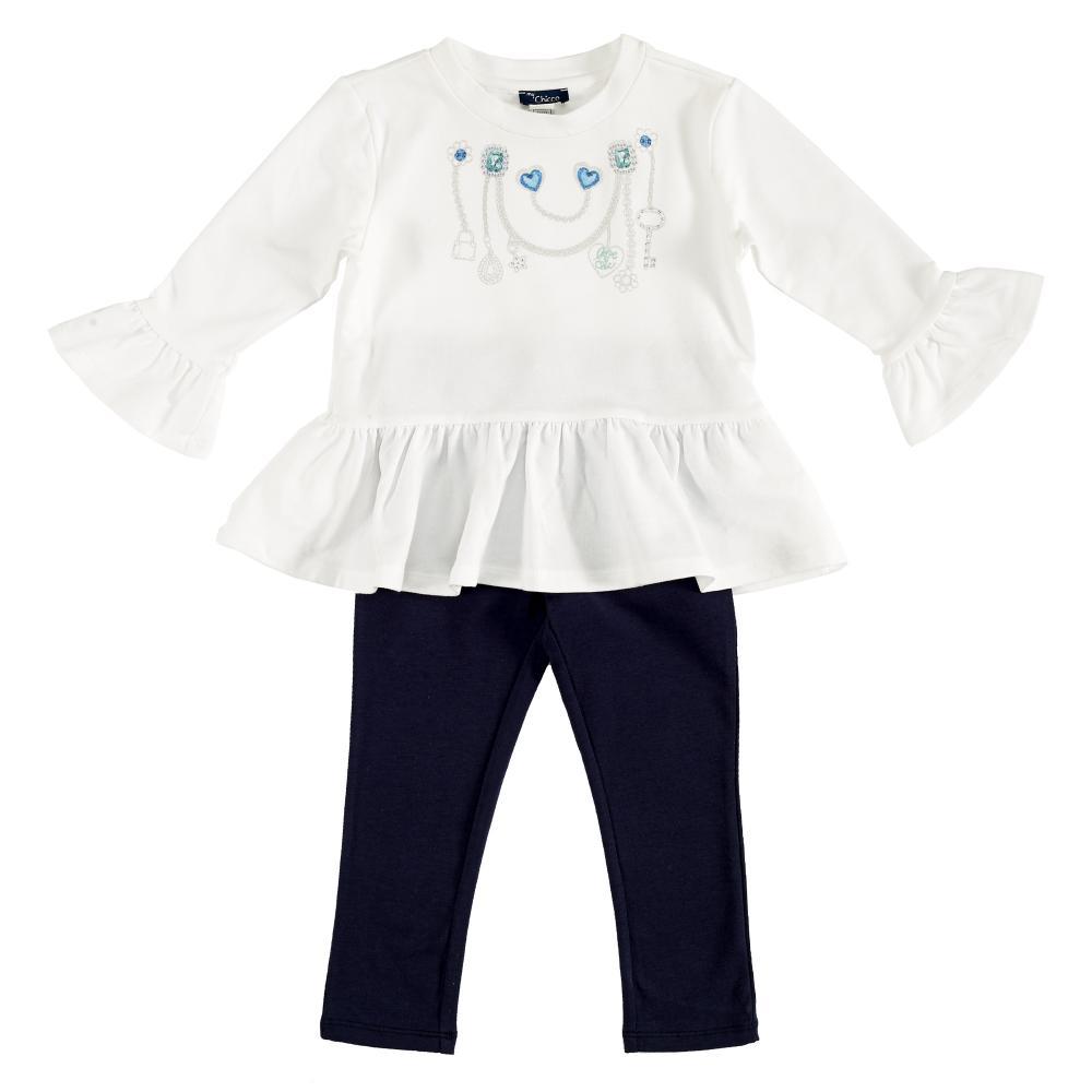 Costumas bebe Chicco, tricou maneca lunga si colanti, albastru, 76163