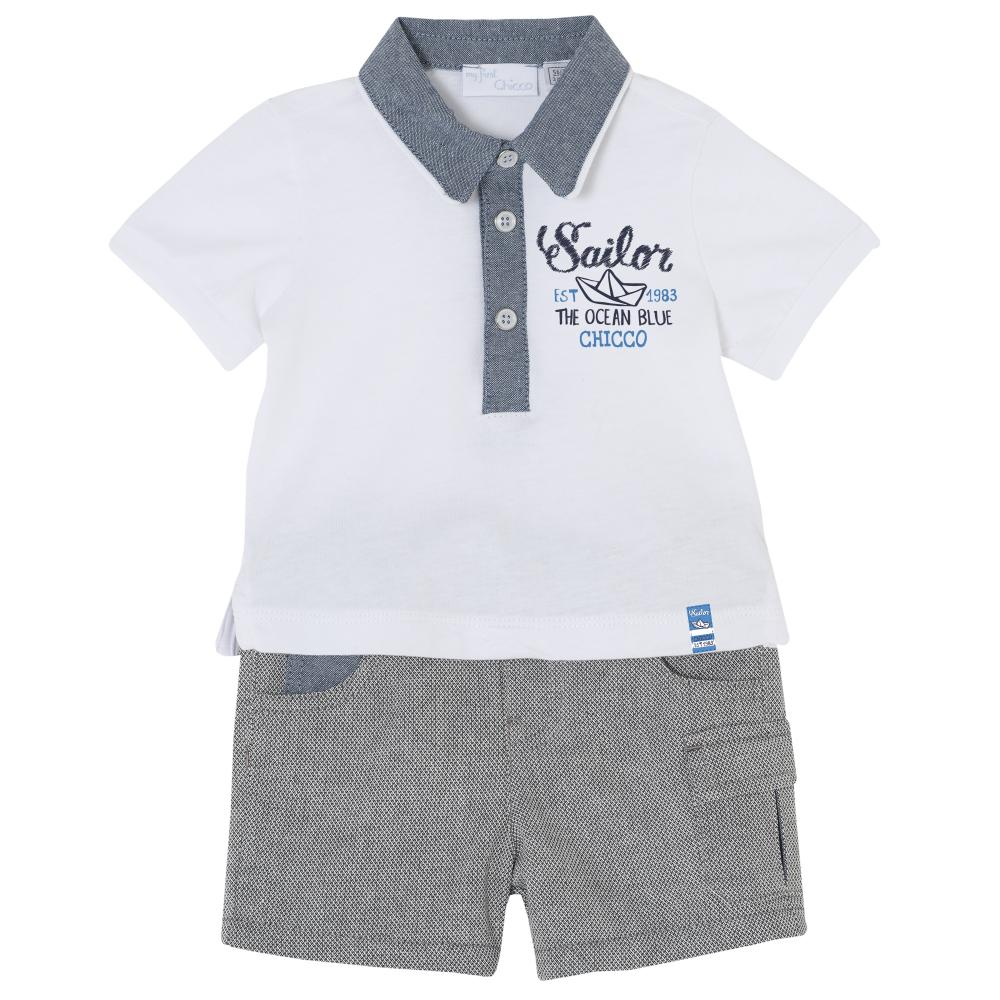 Costumas bebe Chicco, tricou si pantaloni, baieti, alb cu gri din categoria Set doua piese
