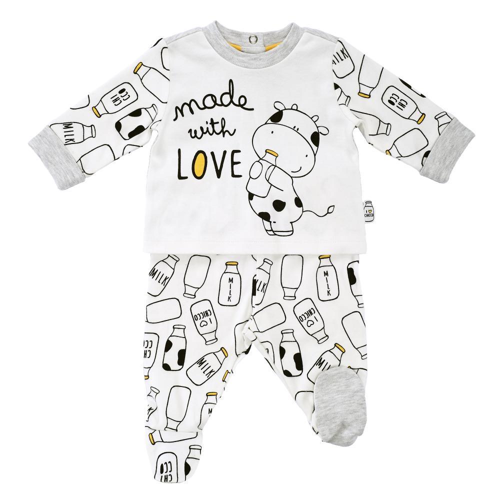 Costumas bebelusi Chicco tricou maneca lunga si colanti alb cu model 56