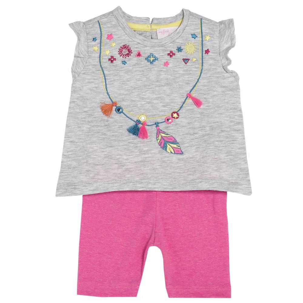 Costumas bebelusi Chicco, tricou si pantaloni, fetite, gri cu ciclamen, 77471