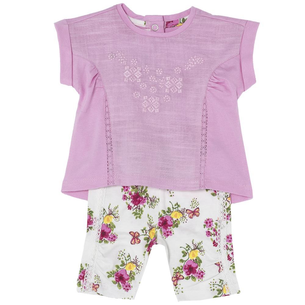 Costumas bebelusi Chicco, tricou si pantaloni, fetite, roz si alb, 77434