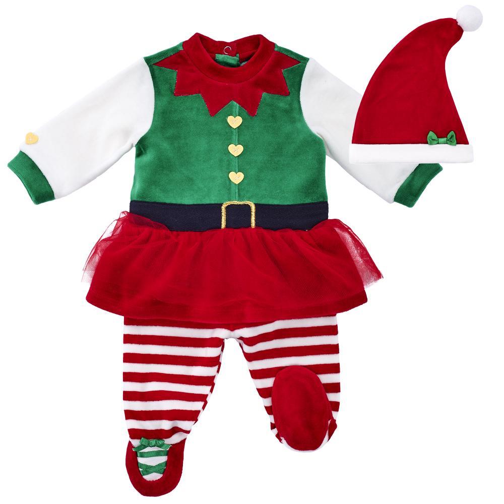 Costumas copii Chicco, pentru Craciun, rochie, colanti si scufie, verde