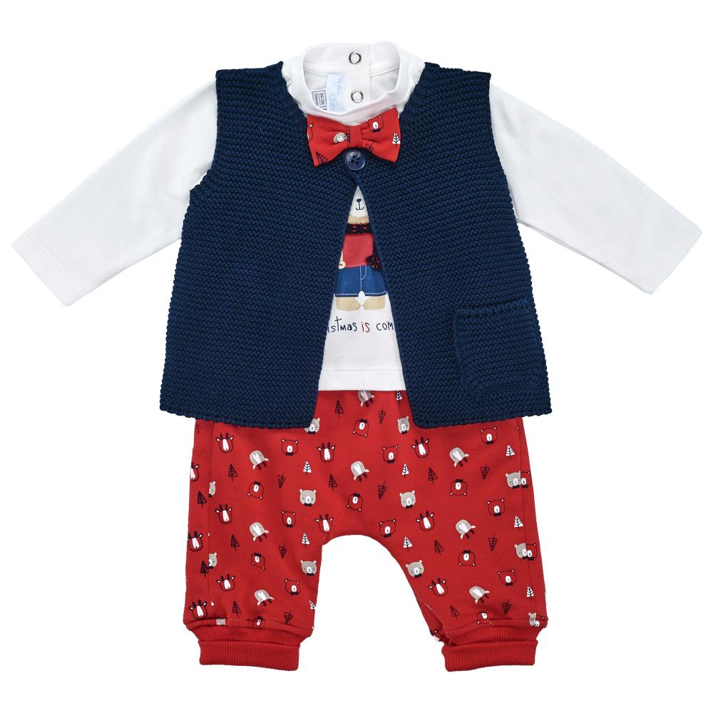 Costumas copii Chicco, pentru Craciun, vesta, tricou si pantaloni, rosu din categoria My First Christmas