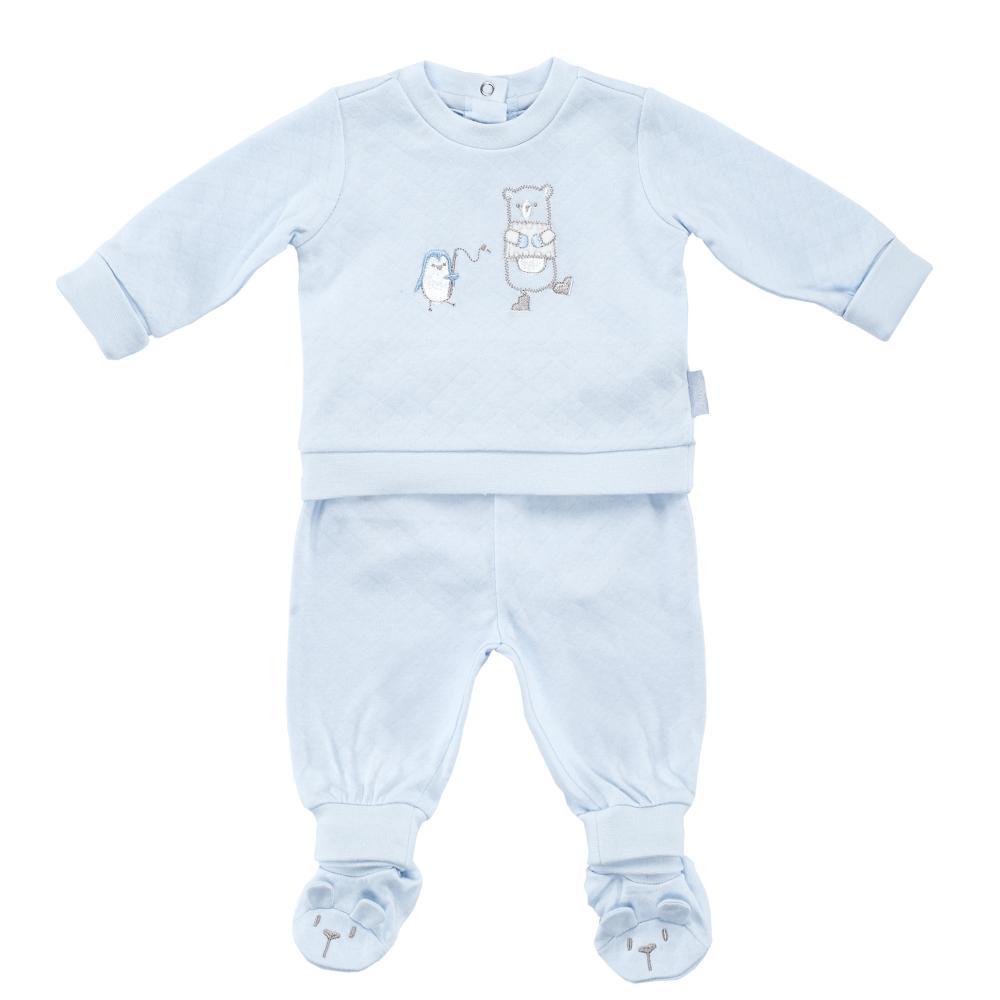 Costumas copii Chicco, tricou maneca lunga si pantaloni, albastru
