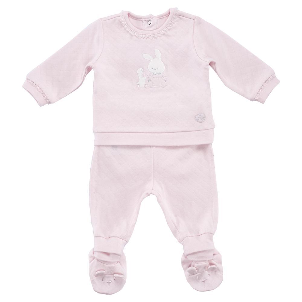 Costumas copii Chicco, tricou maneca lunga si pantaloni, roz, 77574