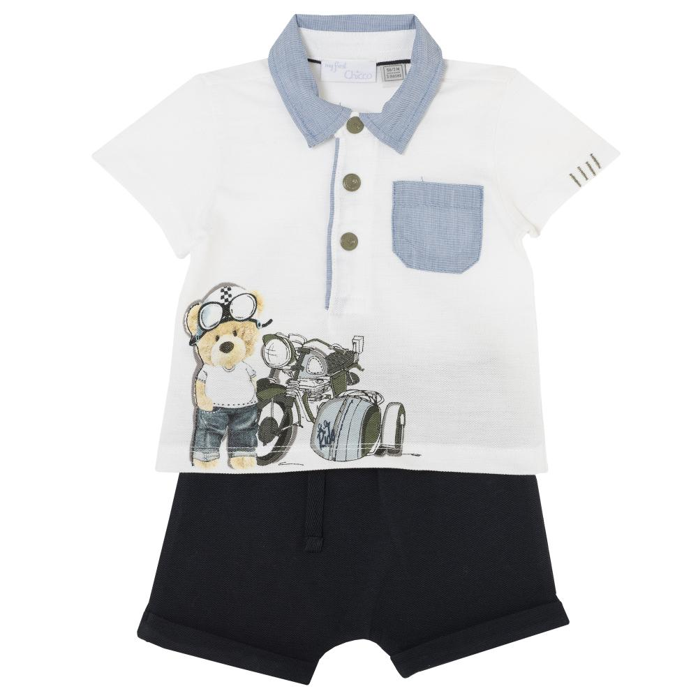 Costumas copii Chicco, tricou si pantaloni, alb cu albastru, 77463