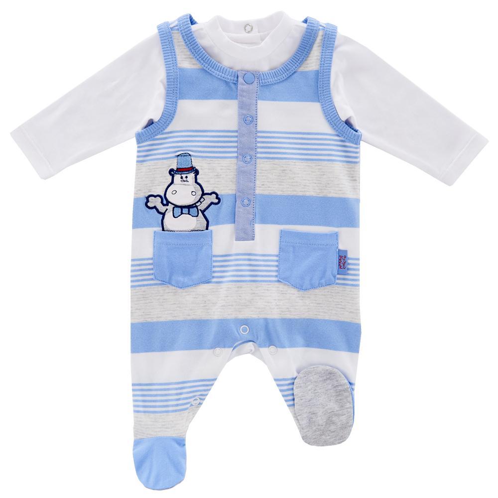 Costumas doua piese bebelusi Chicco, salopeta si body, alb cu albastru