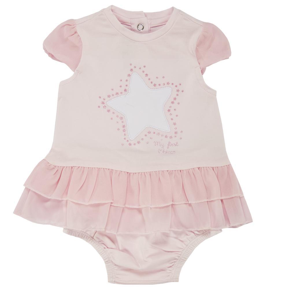 Costumas doua piese copii Chicco, rochita maneca scurta si chilot, fetite, roz