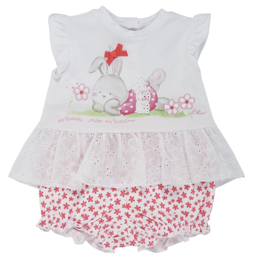 Costumas doua piese copii Chicco, tricou cu maneca scurta si pantaloni scurti, alb cu corai, 77756 din categoria Set doua piese
