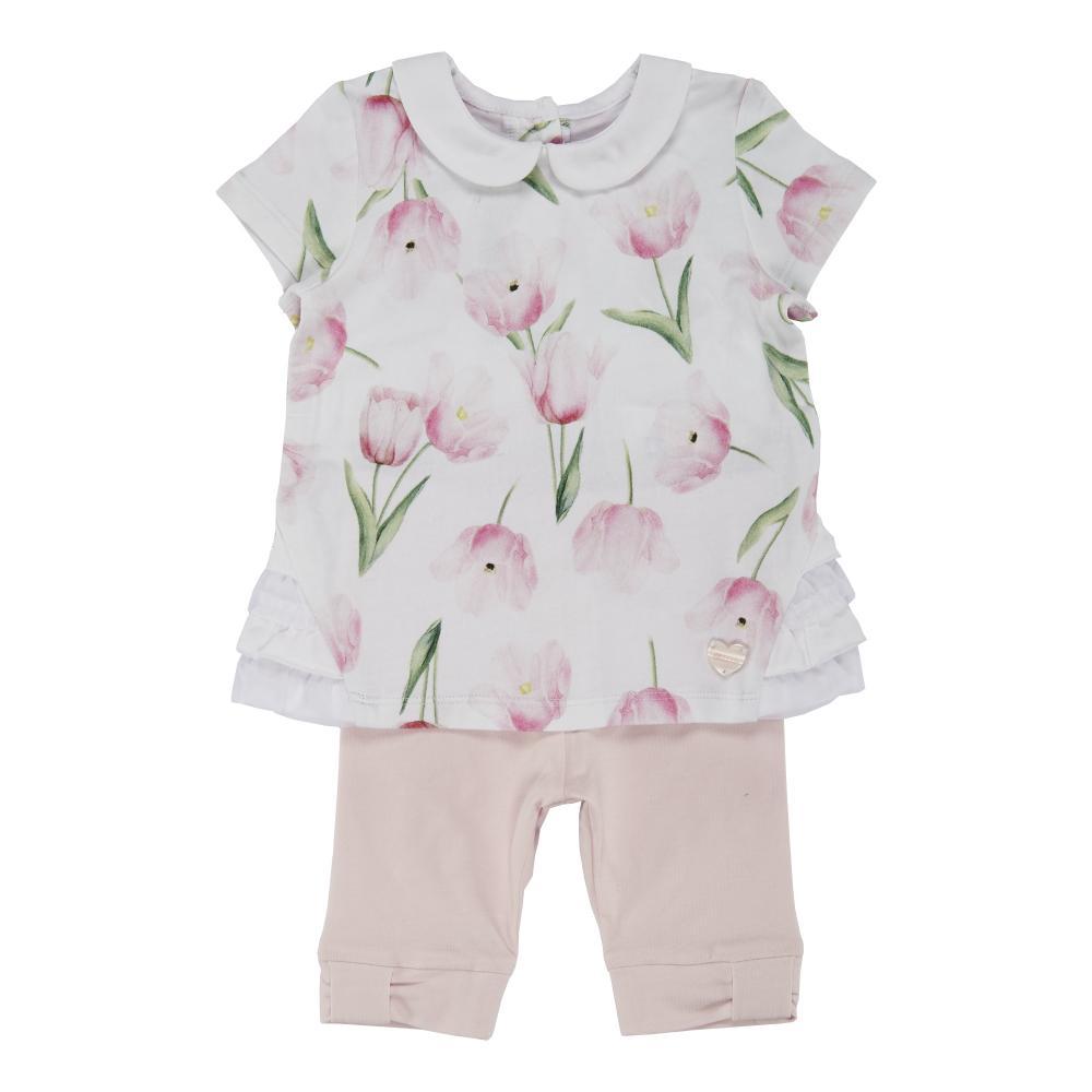 Costumas doua piese copii Chicco : tricou maneca scurta si colant trei-sferturi, fetite, alb cu roz