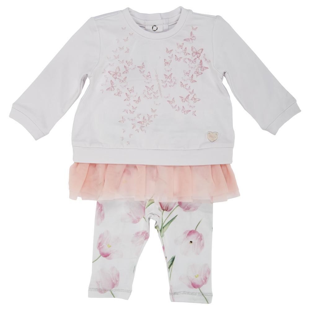 Costumas pentru copii Chicco, tricou maneca lunga si colant, fetite, alb cu roz