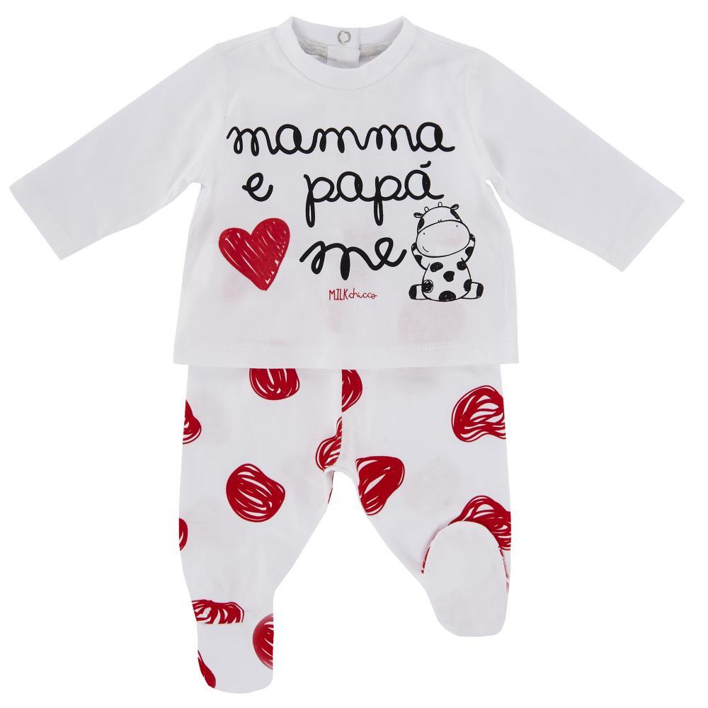 Costumas pentru copii Chicco, tricou si pantaloni, alb cu rosu