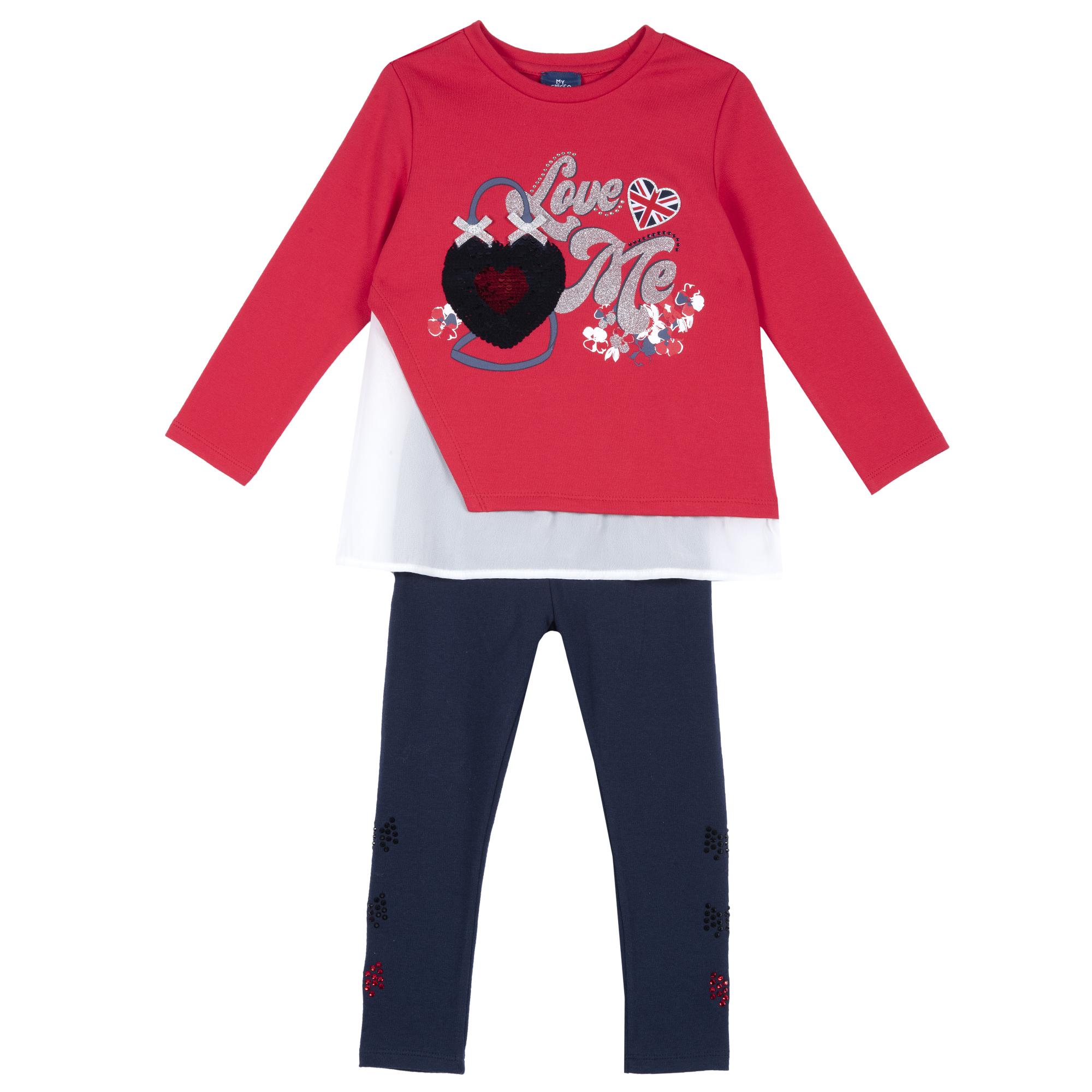 Bluza Si Pantalon Copii, Rosu Cu Insertii, 71484 imagine