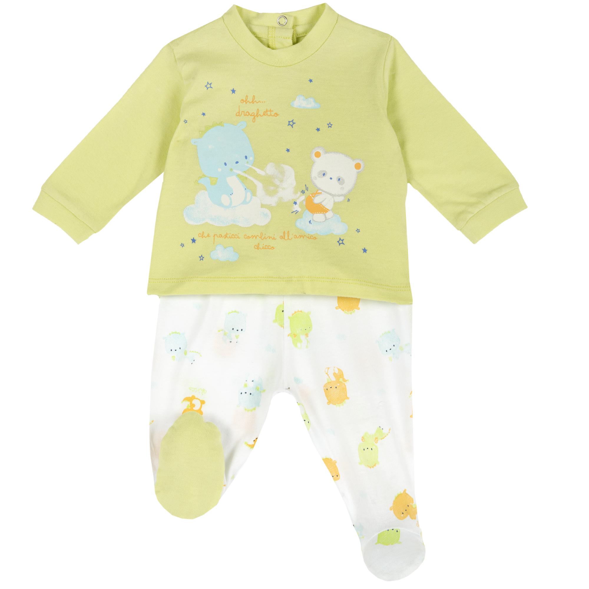 Costum Bebe Chicco, Bluza Si Pantalon, Verde, 76497 imagine