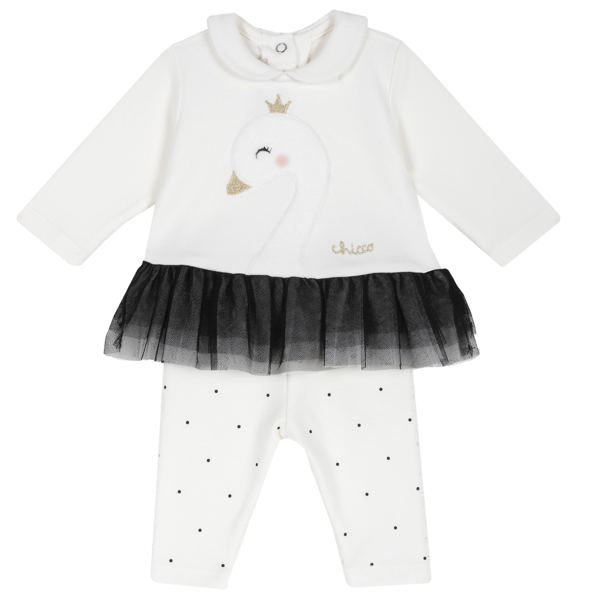 Set Doua Piese Copii Chicco, Bluza Si Pantalon, Alb, 73564 imagine