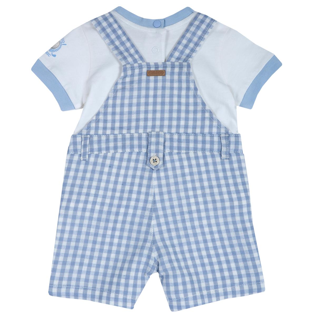 Set Pentru Copii Chicco, Salopeta Pantalon Si Tricoul, Albastru, 75536 imagine