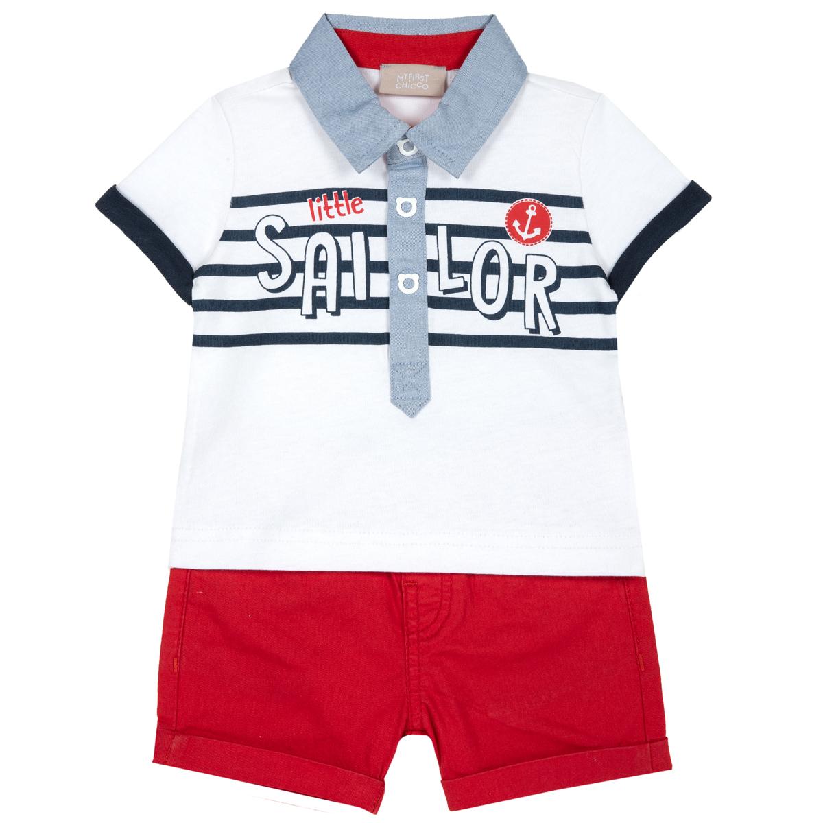 Costum Copii Chicco, Tricou Si Pantalon, Rosu Cu Roz, 76394 imagine