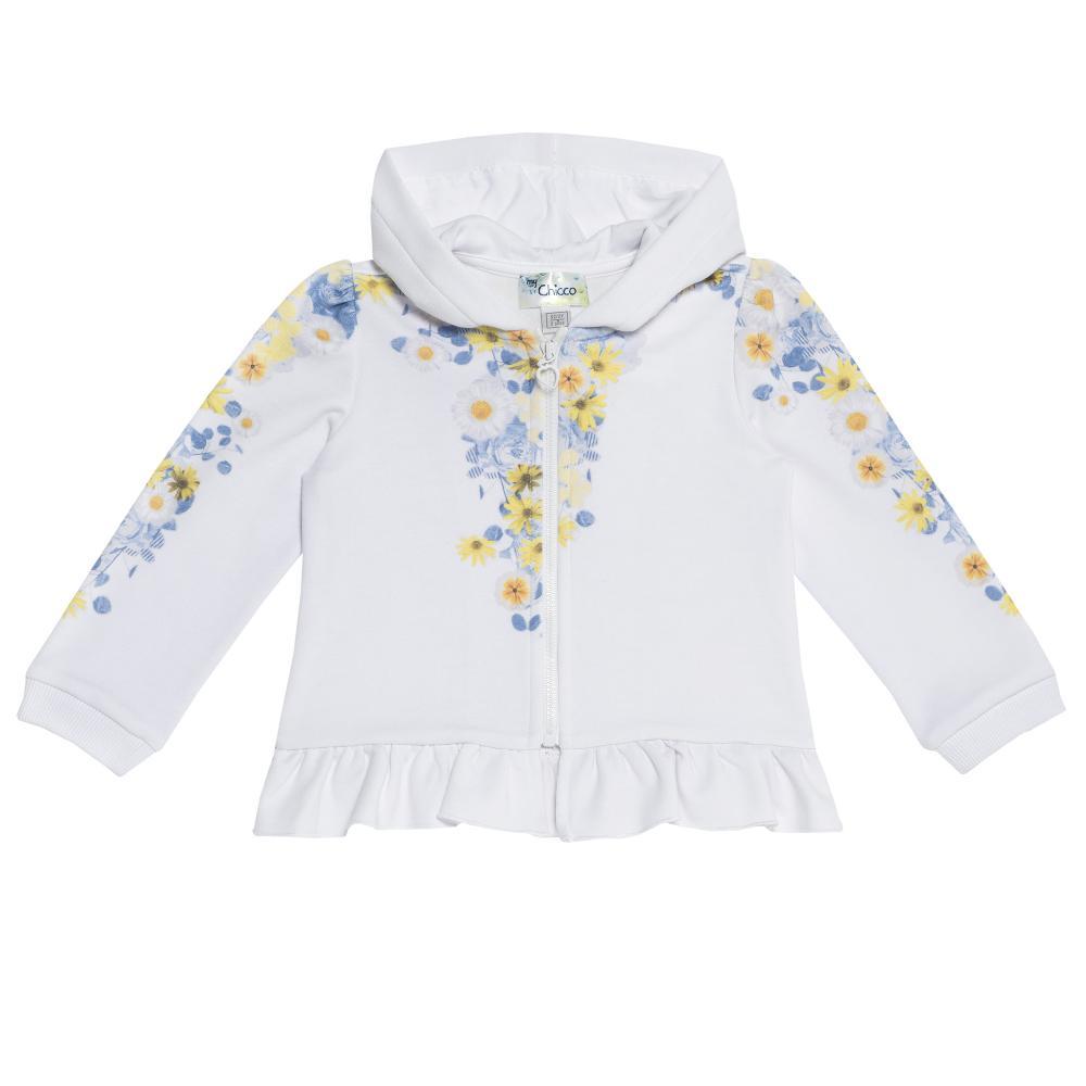 Hanorac pentru copii Chicco, fete, alb cu flori, 96347 din categoria Cardigan copii