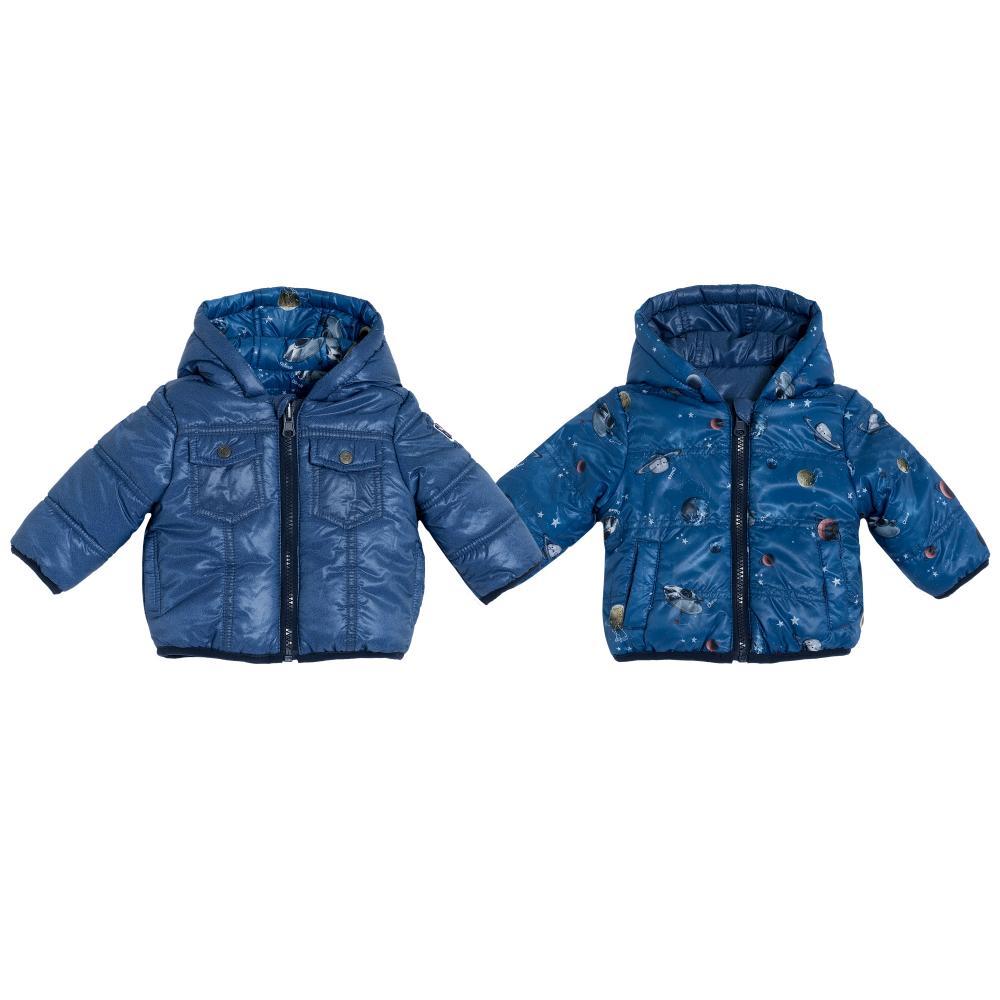 Jacheta reversibila Chicco albastru cu model 86