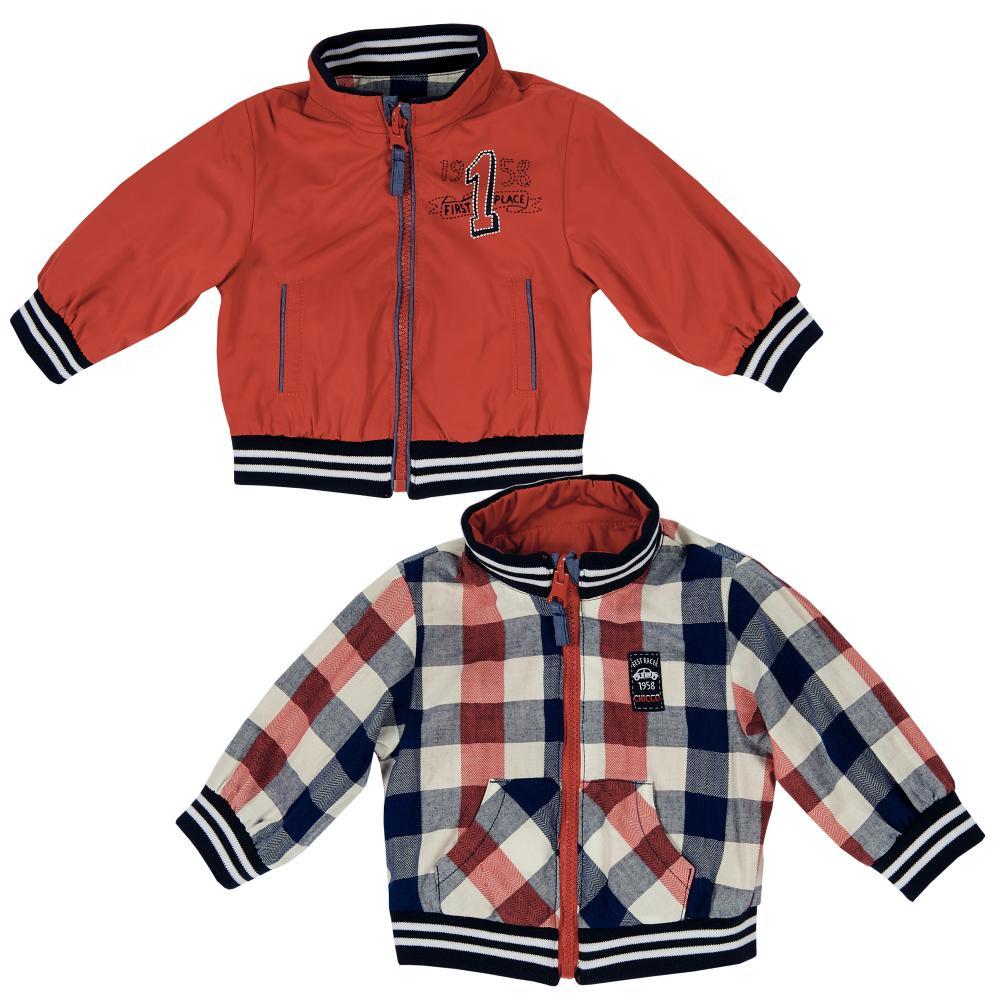 Jacheta reversibila copii Chicco, baieti, rosu cu carouri