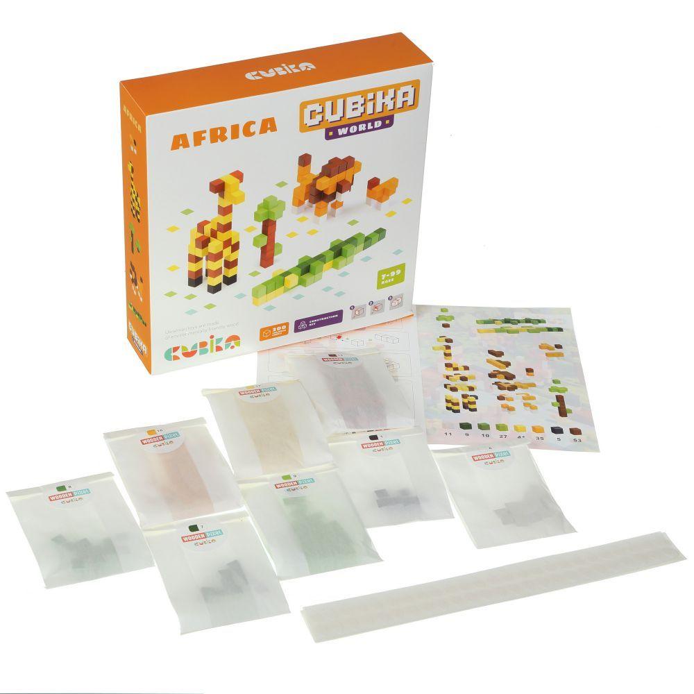 Joc Din Lemn Cubika, Set De Constructii World Africa imagine