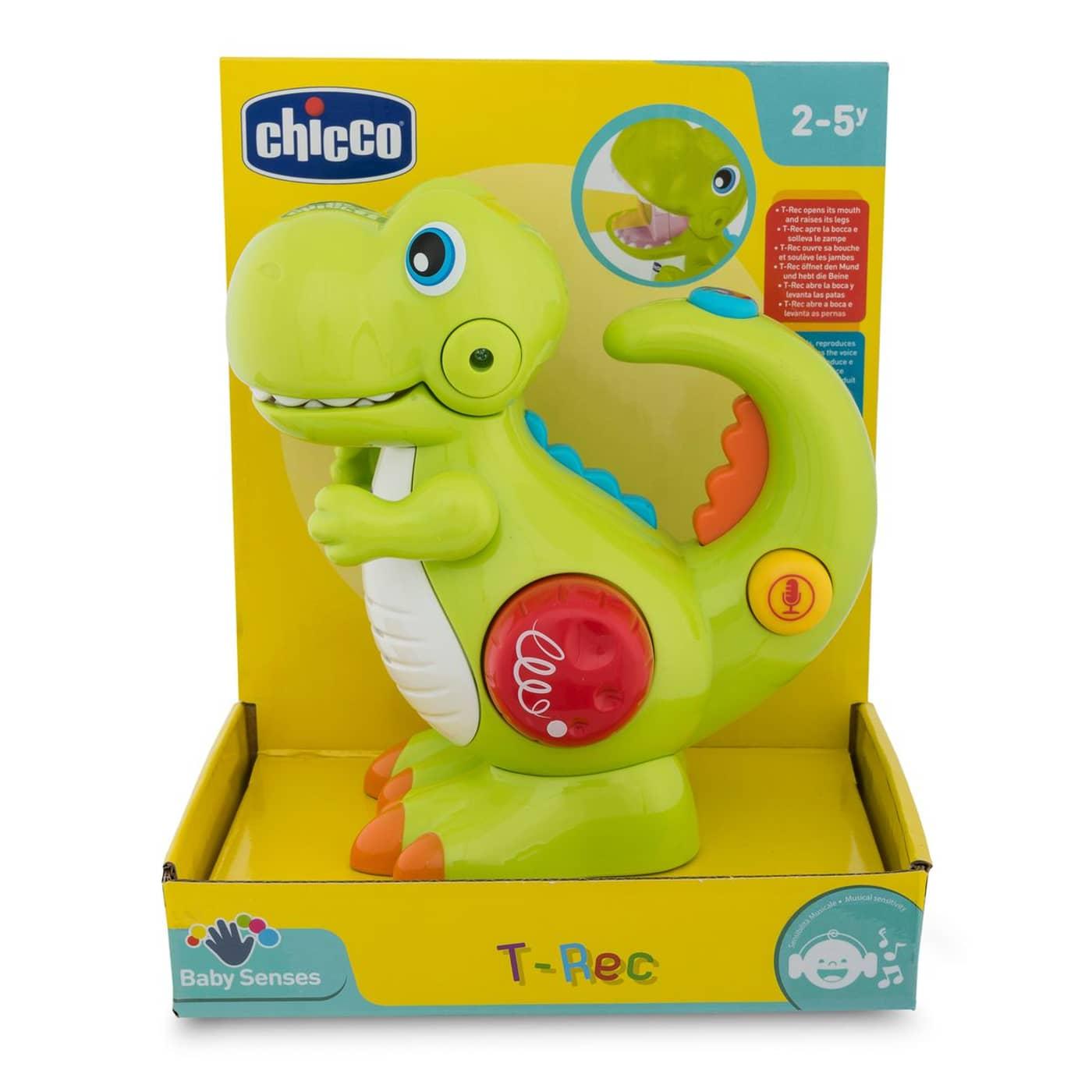 Jucarie Chicco dinozaurul T-Rec, cu inregistrare vocala si lanterna, 2 -5 ani
