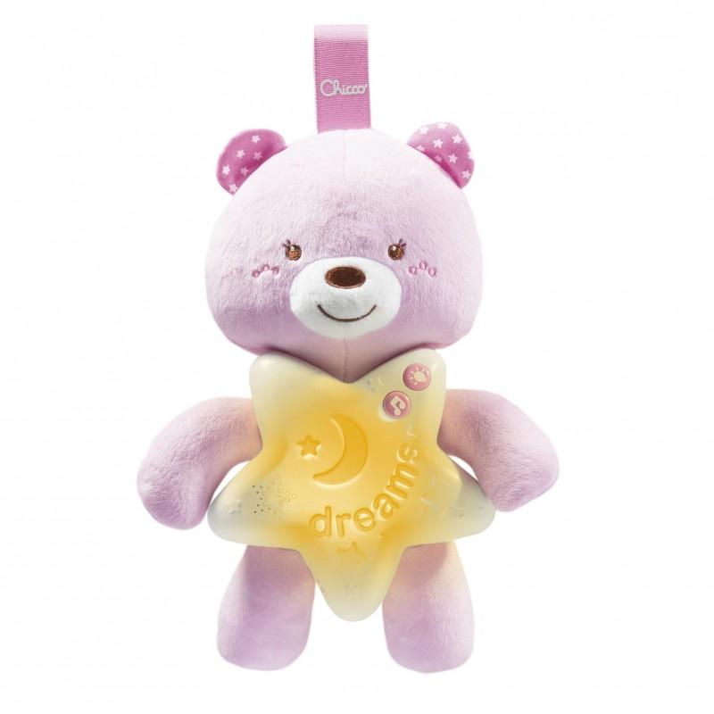 Jucarie Chicco Pentru Patut Ursuletul Noapte Buna, Roz, 0luni+ imagine
