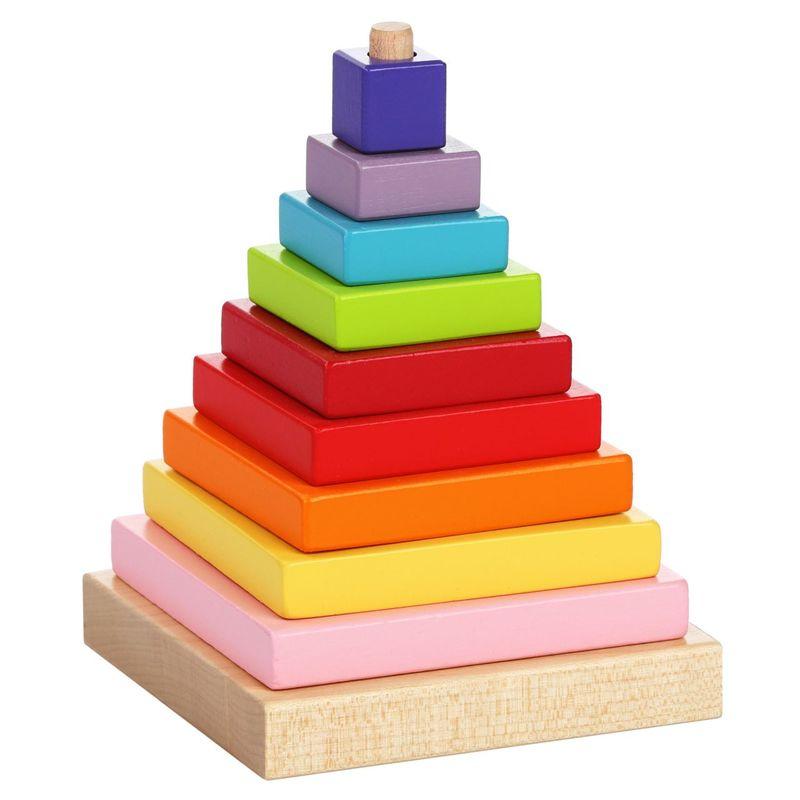 Jucarie Din Lemn Cubika Piramida Culorilor, 18luni+ imagine