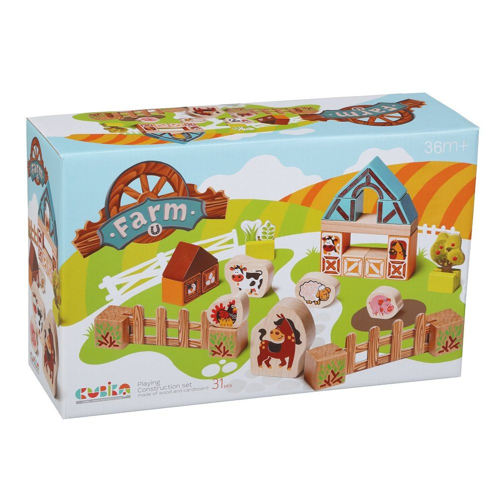 jucarie din lemn Cubika Set constructii Ferma noastra 3ani+