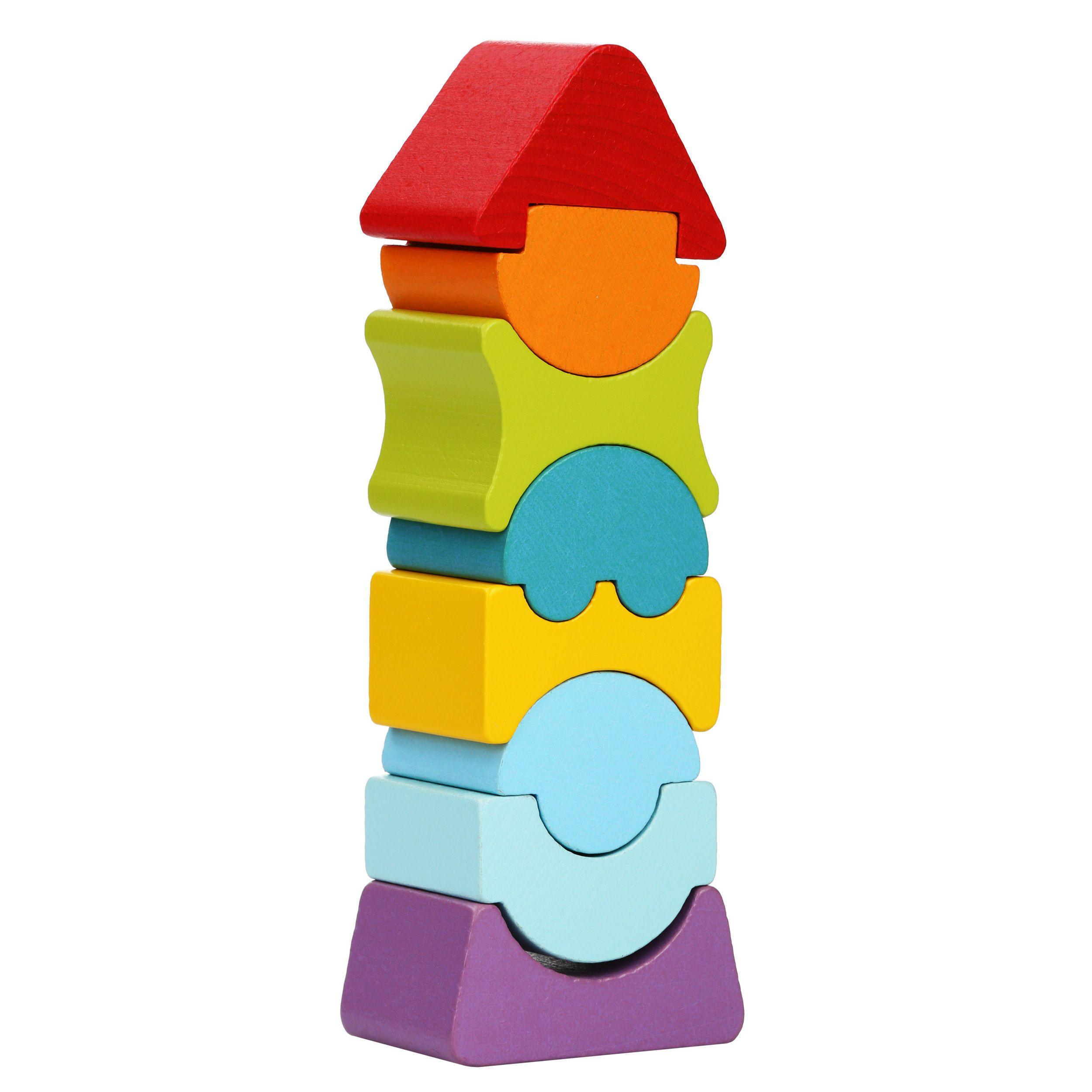 Jucarie Din Lemn Cubika, Set Constructii Turn imagine