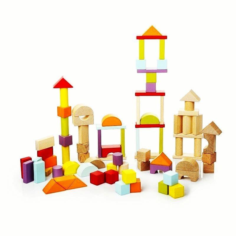 Jucarie Din Lemn Cubika, Set Constructii imagine