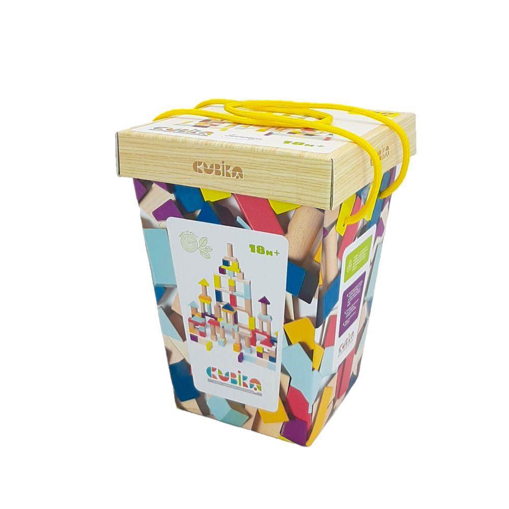 Jucarie Din Lemn Cubika Set De Constructii 100 Bucati, 18luni+ imagine