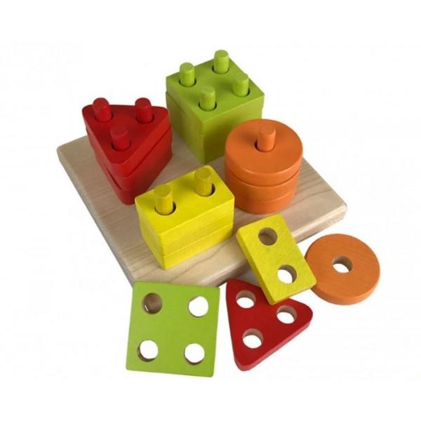 Jucarie Din Lemn Cubika, Sortator Forme Geometrice, 18luni+ imagine