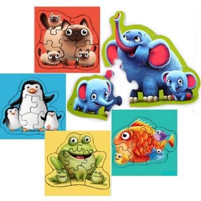 Jucarie puzzle 5 in 1 Cubika Familia Potrivita 3ani+