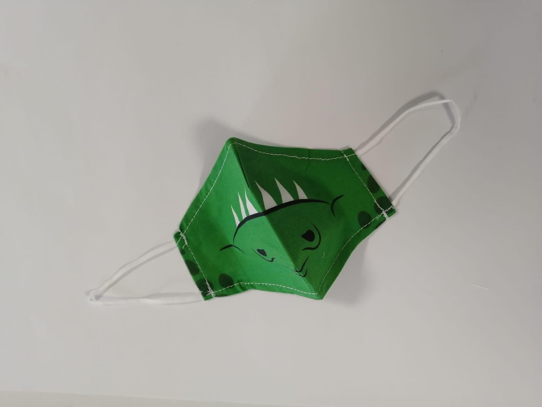 Masca Textila Cu Pliuri, Reutilizabila, 2 Straturi, Verde Model Dinozaur imagine