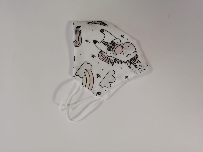 Masca Textila Forma Cupa, Reutilizabila, 2 Straturi, Alb Cu Unicorni imagine