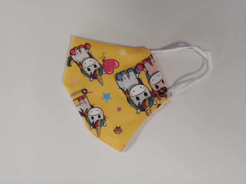 Masca Textila Forma Cupa, Reutilizabila, 2 Straturi, Galben Cu Unicorni imagine