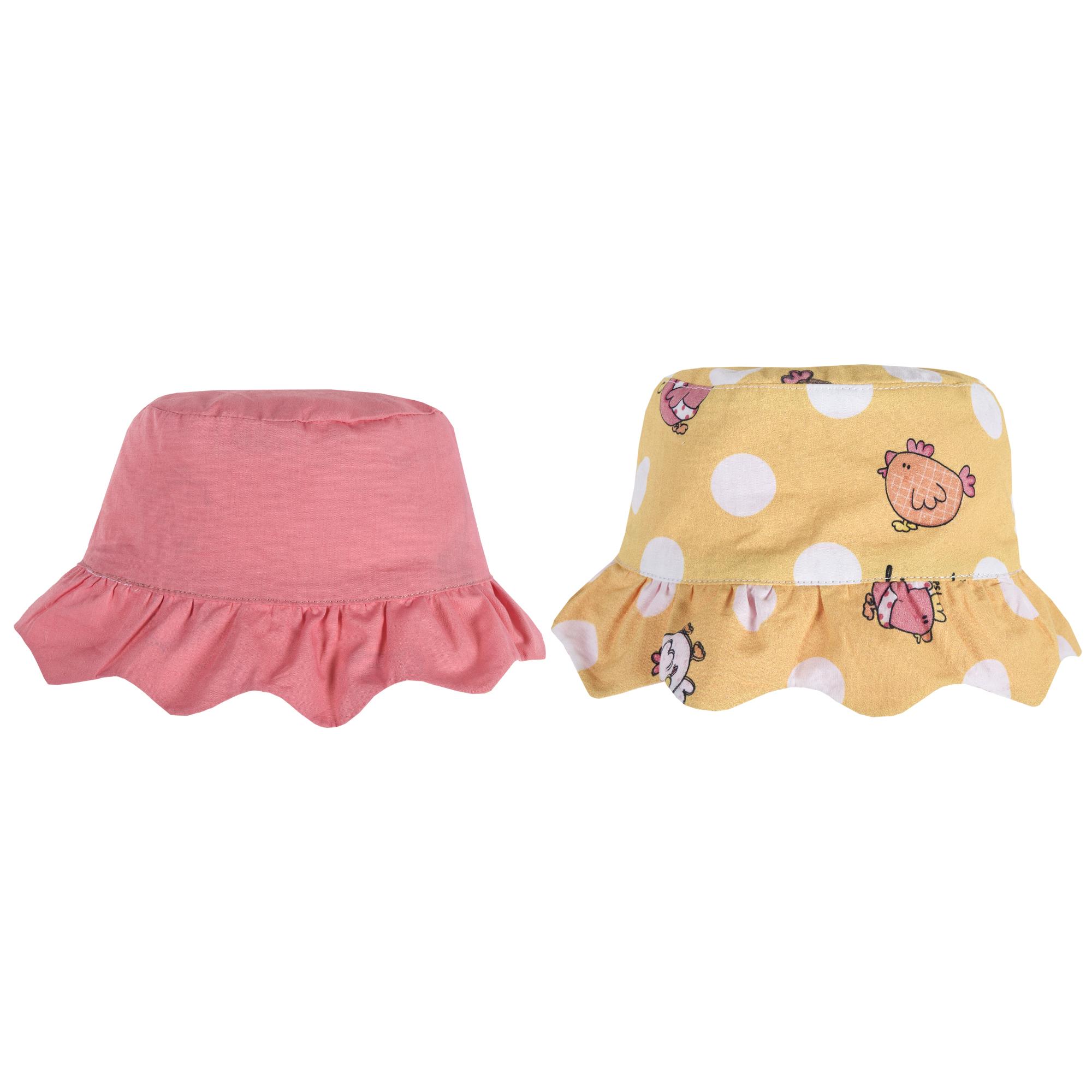 Palarie reversibila pentru fetite, alb cu galben, 04412 din categoria Caciuli, Sepci