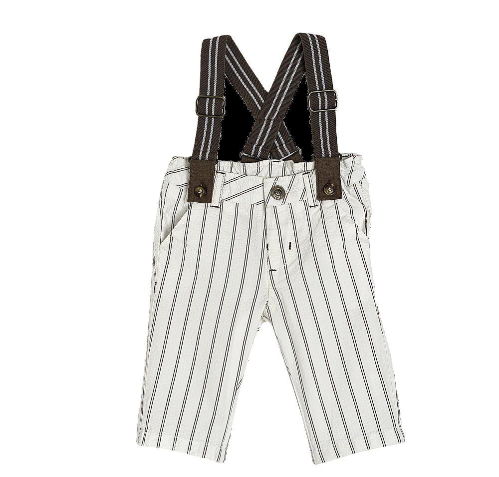 Pantalon lung Chicco, alb cu maro, 24261