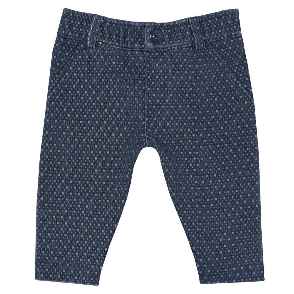 Pantalon lung baietei Chicco, bleumarin cu picouri gri, 24476