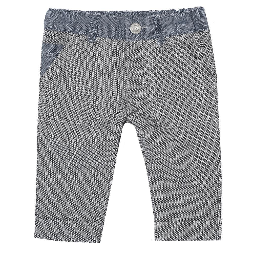 Pantalon lung baietei Chicco, gri cu betelie denim