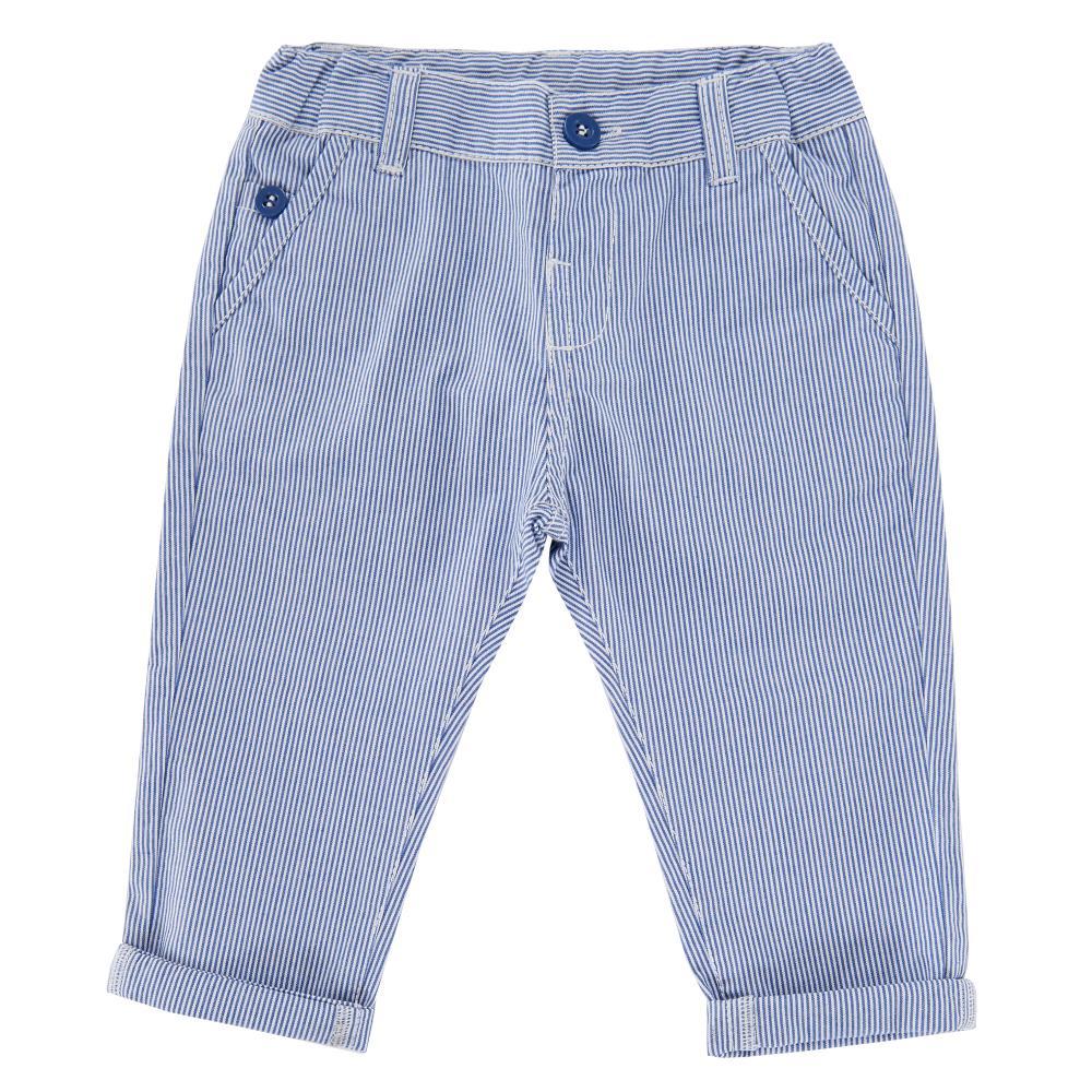 Pantalon lung copii Chicco, alb cu dungi albastre