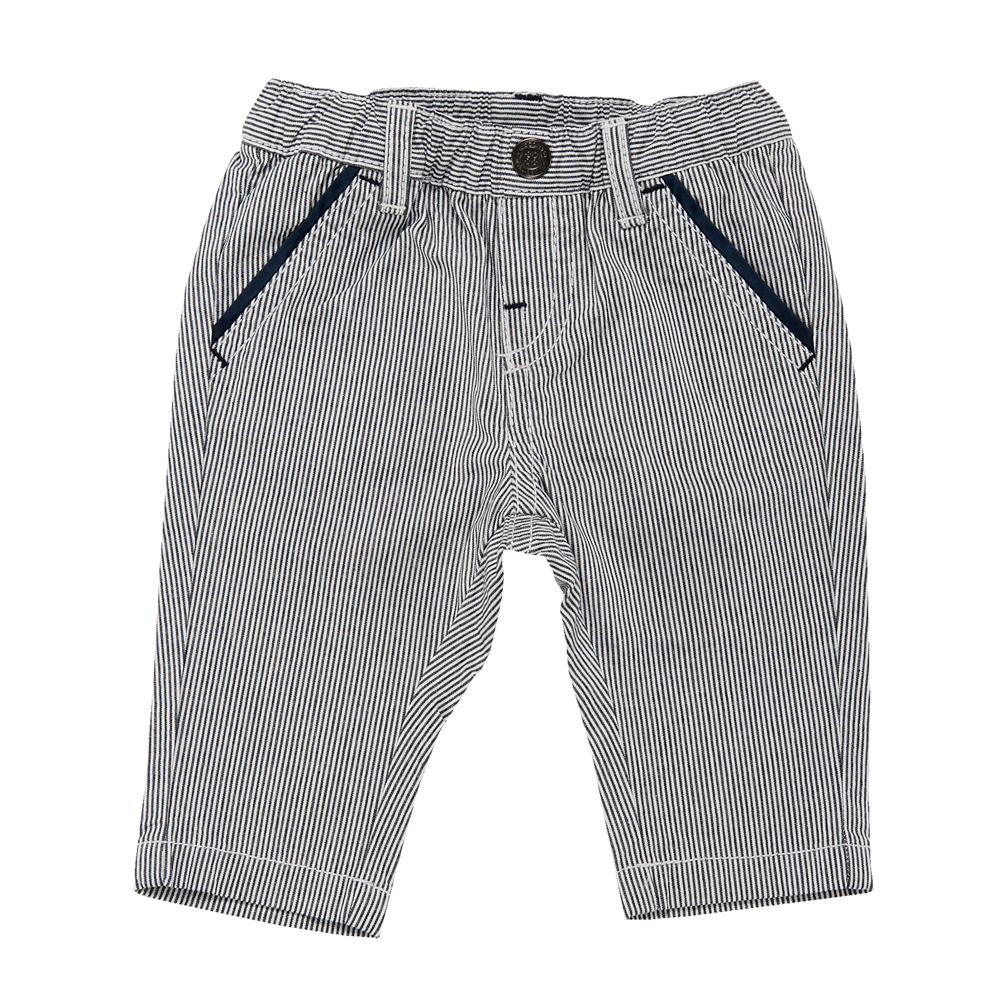 Pantalon lung copii Chicco, baieti, alb cu dungi bleumarin din categoria Pantaloni copii