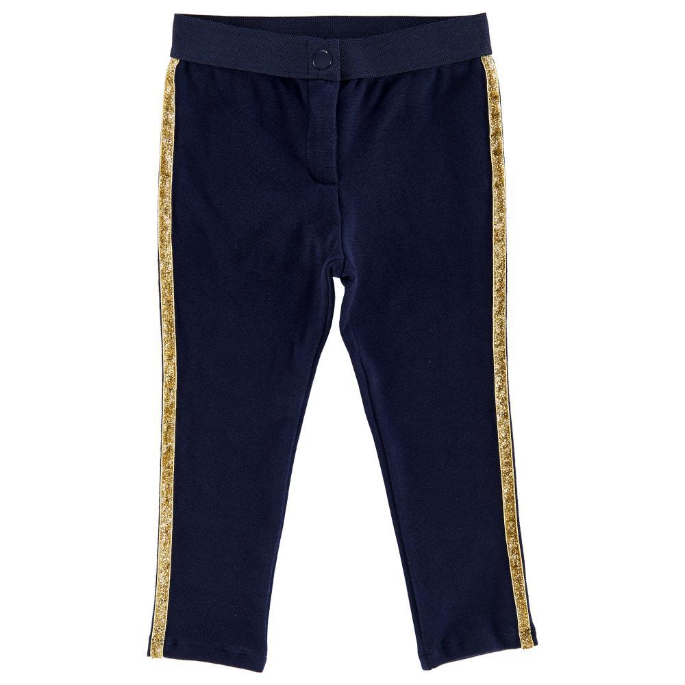 pantalon lung copii chicco, bleumarin cu vipusca aurie