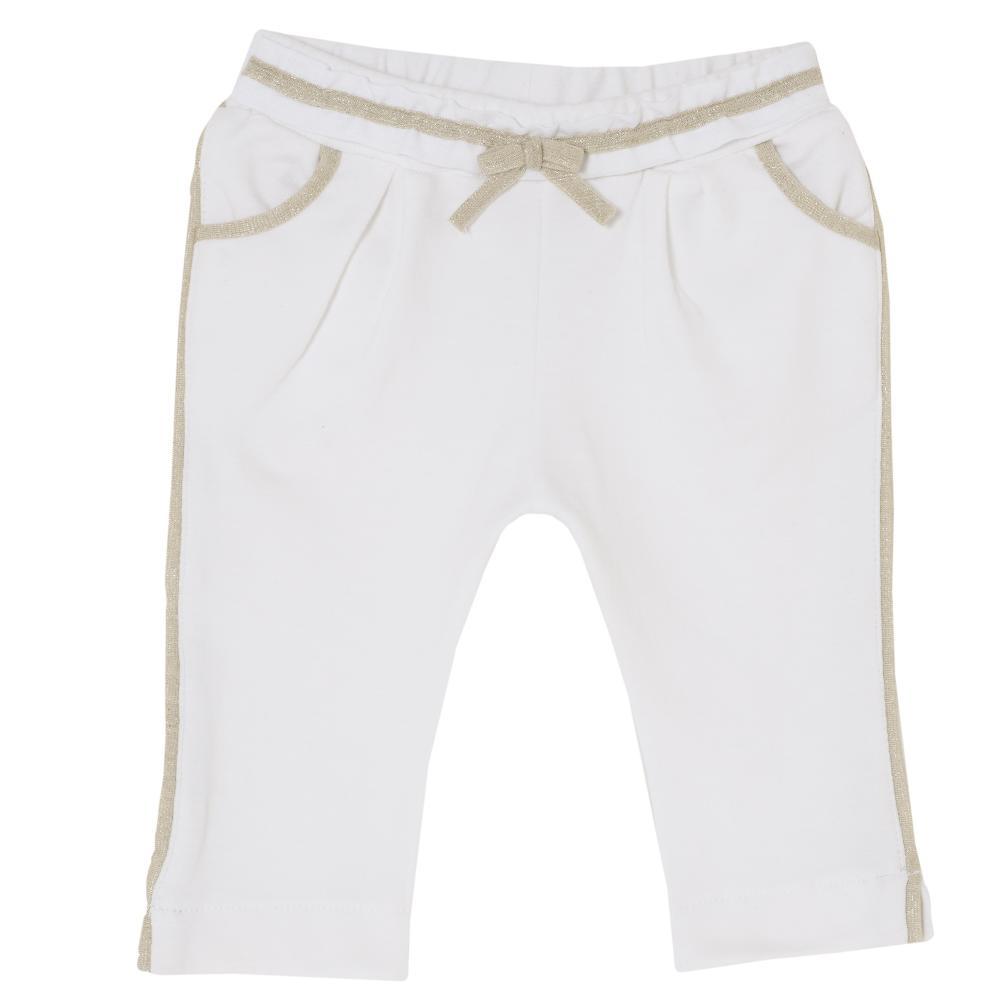 Pantalon lung stretch Chicco, fetite, alb cu auriu, 24494