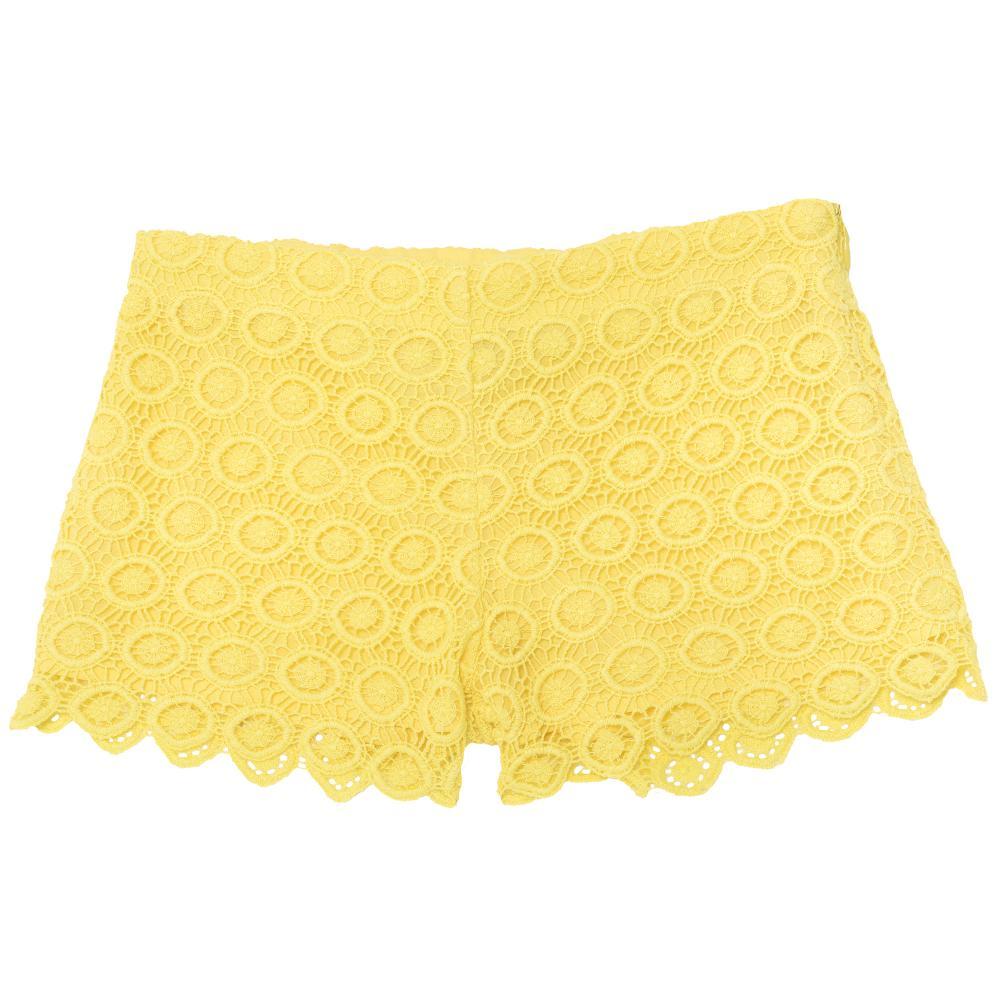 Pantalon scurt copii Chicco, fetite, galben dantelat